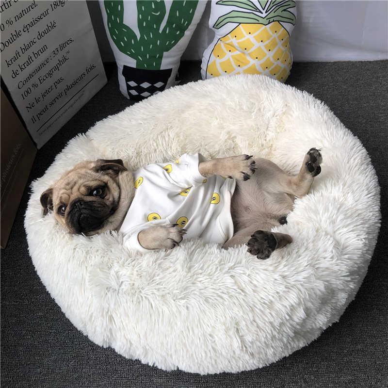 Super macio animal de estimação cama canil cão redondo gato inverno quente saco de dormir longo pelúcia filhote de cachorro almofada esteira portátil gato suprimentos 46/50/60cm