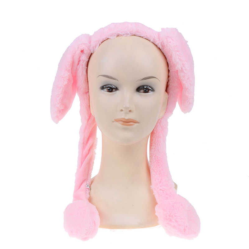 Bonito sombrero de oreja de conejo, diadema, se puede mover, lindo gorro de peluche, sombrero de baile de juguete