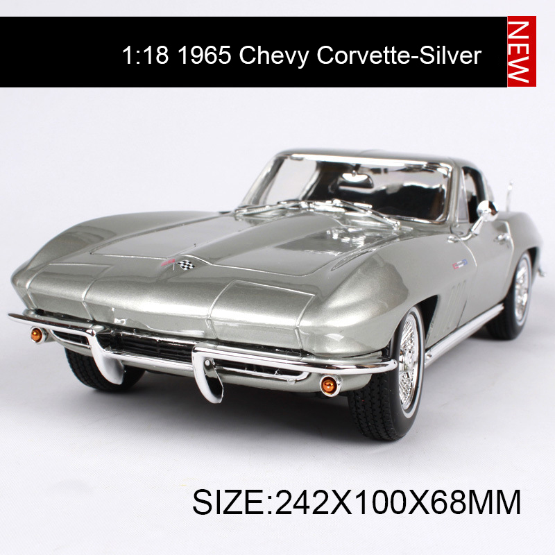 цена на 1:18 diecast Car 1965 Chevy Corvette Muscle Cars 1:18 Alloy Car Metal Vehicle Collectible Models toys For Gift
