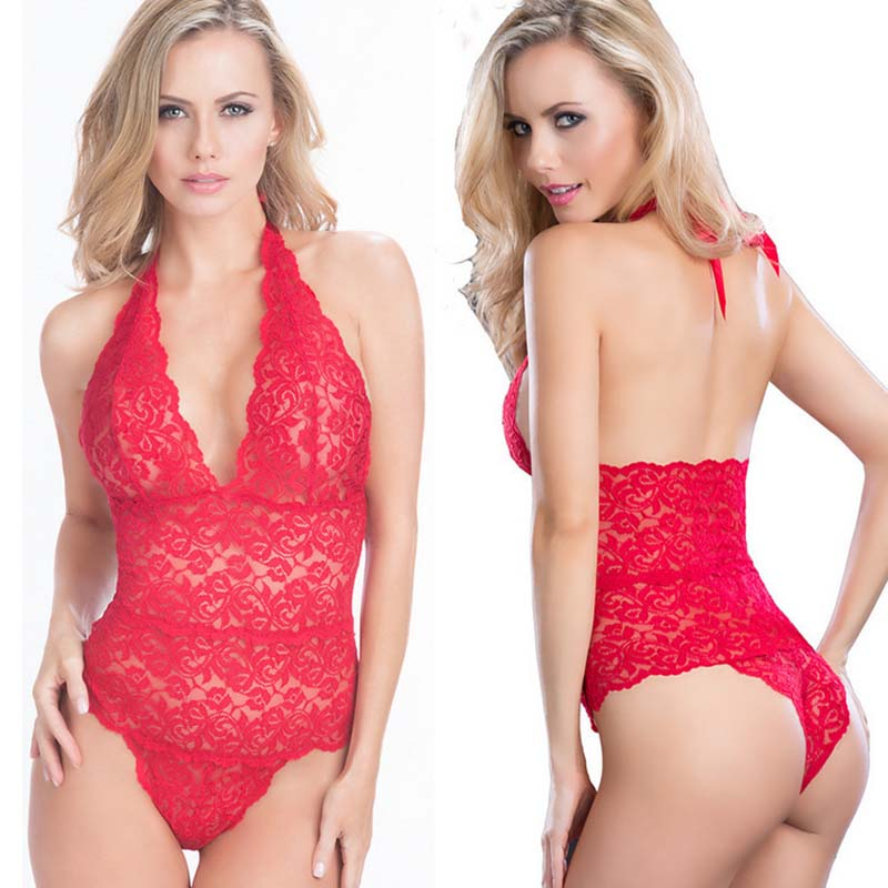 Sleep Tops Summer Sexy Lingerie Nightwear Lace V-Neck Bodycon Women Sleepwear Bandage Bodysuit Women's Sleepwears Underwear