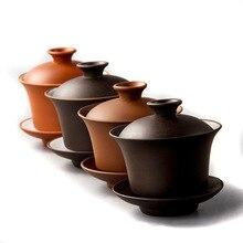 Китайский чайный набор элегантные Gaiwan чайные чашки фиолетовая глина Tureen 120 мл крышка соусница для тарелки Zisha чай варить чай чашка Прямая доставка