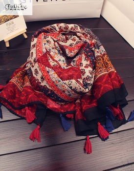 Scarves scarves national wind palace, cashews printing cotton and linen scarves, sun shawls, beach scarf mantillas