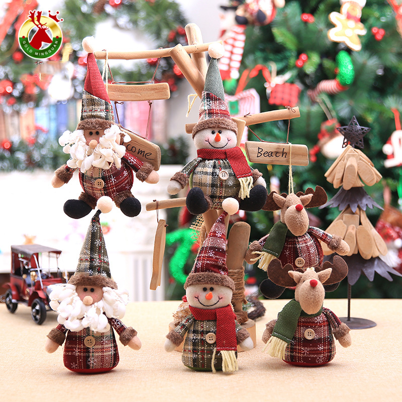 2019 Merry Christmas Tree Ornaments Christmas Decorations for Home New Year gift Children Snowflake Elk Plaid Doll Hanging Natal (8)