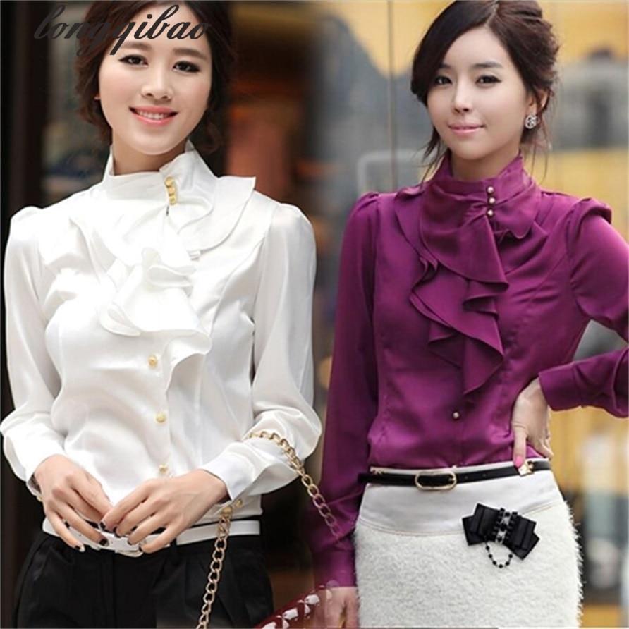 The New Fashion Lace Lotus Leaf Edge Women's Long-sleeved Shirt Chiffon Shirt Ms. Long-sleeved White Shirt TB709