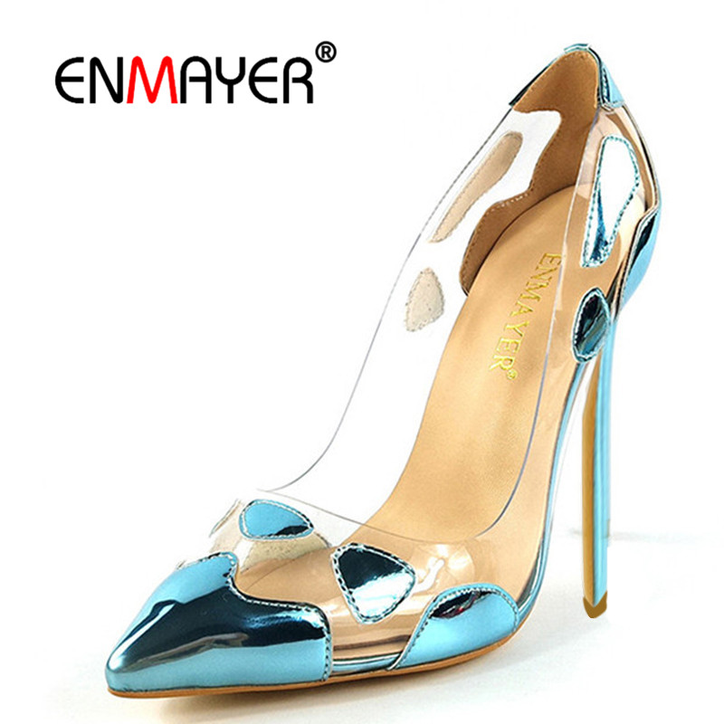 ENMAYER Basic Women Pumps Extreme High Heel Pointed Toe Fashion Slip-On Clear Blue Red Luxury Summer Shoes Women Plus Size 35-46 hotsale women solid blue flower decoration crossed style slip on sandals summer fashion high suare heel peep toe pumps free ship
