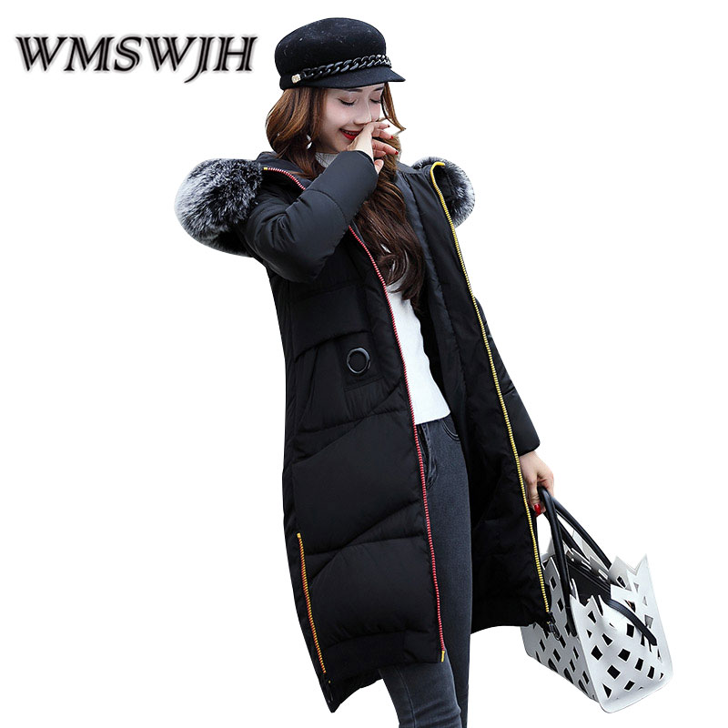 Winter Women's Jacket 2017 New Fashion Big Fur Collar Hooded Large Size Slim Mid Long Section Feather Cotton Thicken Cotton Coat winter feather cotton women outwear long section thick section slim hooded coats large fur collar large size down jacket lx165