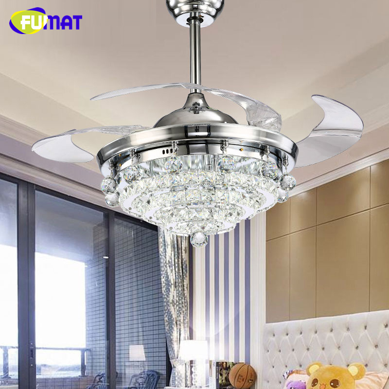 FUMAT LED Ceiling Fans Crystal Light Dining Room Living Room Fan Droplights Modern Crystal Ceiling Fans Lightings For Dining Ro