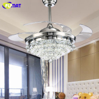 FUMAT LED Ceiling Fans Crystal Light Dining Room Living Room Fan Droplights Modern Crystal Ceiling Fans Lightings For Dining Ro