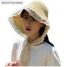 Cute Lace Brim Sunhats For Women Summer Straw Caps Foldable Beach Sun Hat Girls Visor UV HAT With Long Ribbon