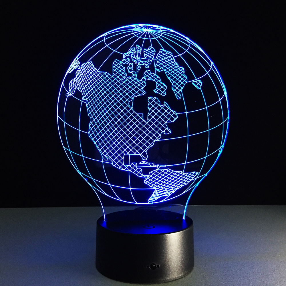 3D visual effect America map shape globe shape LED night light for decoration ball atmosphere DIY night lamp image