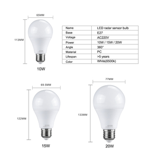 Image 2 - Ampoule LED 27 Light Bulb With PIR Motion Sensor 10W 15W 20W 220V Smart E27 Radar Lamp 6500K A65 A70 A80