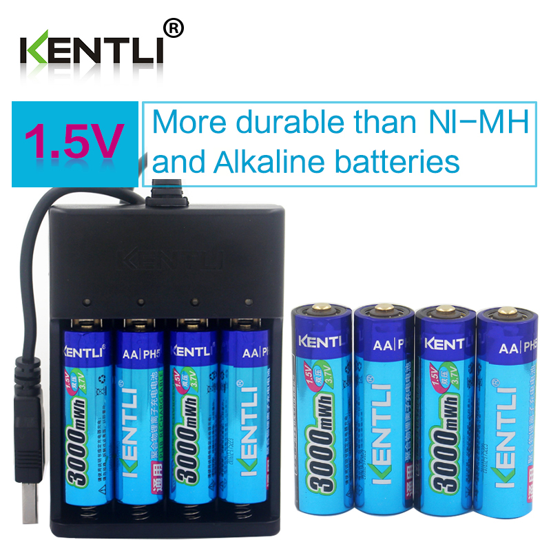 KENTLI 8pcs 1 5v 3000mWh AA rechargeable Li polymer li ion polymer lithium battery 4 slots