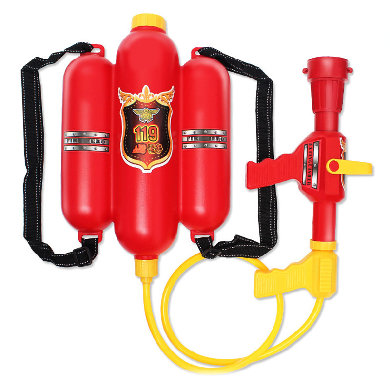 Child Summer Beach Gaming Water Gun Outdoor Soaker Blaster Fire Backpack Mini Fire Extinguisher Spray Pressure Squirt Pool Toy