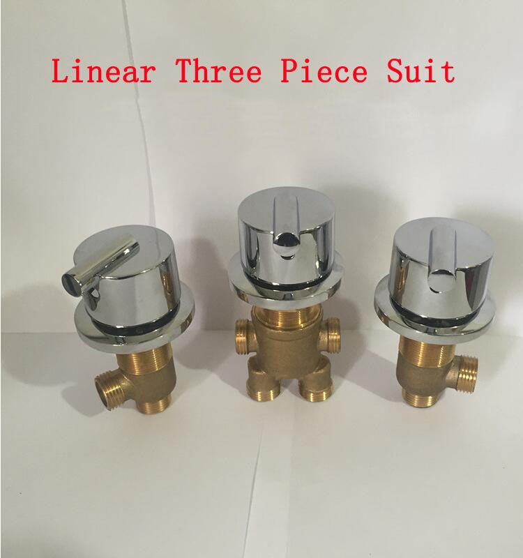 Linear cold and hot water switch, Brass shower room mixing valve water separator, Bathroom bathtub shower faucet mixer 3pcs 1set quality bathtub split massage bathtub triangle set switch water segregator shower room mixing valve