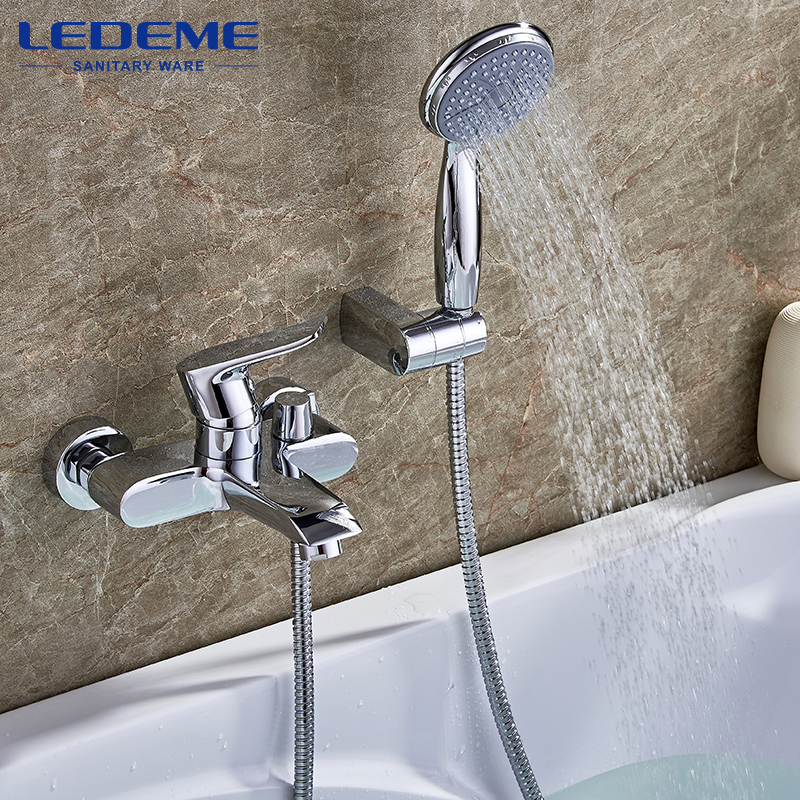LEDEME Shower Set Bathroom Thermostatic Valve Bathtub Faucet Chrome Plated Brass Bath Faucet Waterfall Bathroom Faucet L3234 диски helo he844 chrome plated r20