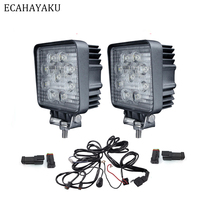 ECAHAYAKU 2Pcs High Lumen 27W LED Work Lamp 12V 6000K Waterproof Offroad Light For Tractor Trailers