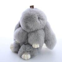 Nooer 18cm Soft Cute Rabbit Fur Doll Stuffed Fluffy Rabbit Plush Toy Fashion Keychain Pendant Kids