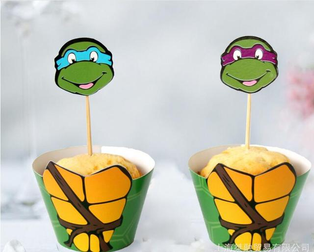 Tmnt Cartoon Cupcake Topper Turtles Cake Toothpick Insert Card Kids