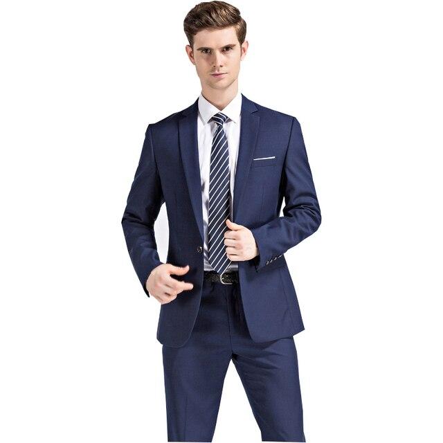 2018 New Classic para hombre azul oscuro y negro trajes con pantalones negocios  boda partido Slim c17fad86900