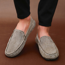 2019 spring and summer new mens leather peas shoes trend suede casual breathable driving