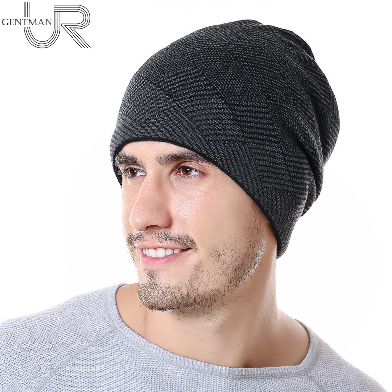 New Men Warm Winter Hat Rhombus Stripes Design   Skullies     Beanies   Hats Fashion Winter   Beanies   For Men Leisure Wool Fur Knitted Hat