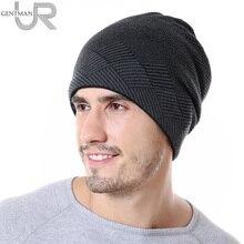 New Men Warm Winter Hat Rhombus Stripes Design Skullies Beanies