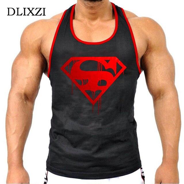 4755def4a3 Superman Muscle Regatas Sem Mangas Dos Homens Camisa de Algodão Desgaste Da  Aptidão Singlet Regata Musculação
