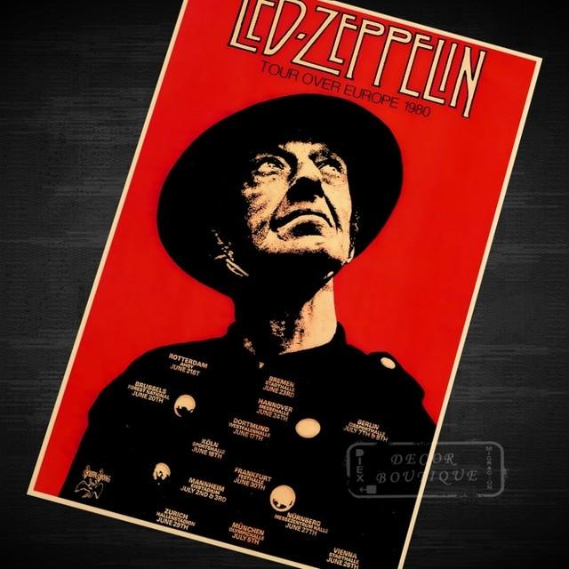 Led Zeppelin Metal Rock Music Poster Classic Retro Vintage Kraft Decorative DIY Wall Canvas Sticker Home