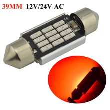 Pair 2x Red C5W C10W LED 36/39/41mm CANBUS Car Festoon Light Auto Interior Dome AC12V 24V(China)