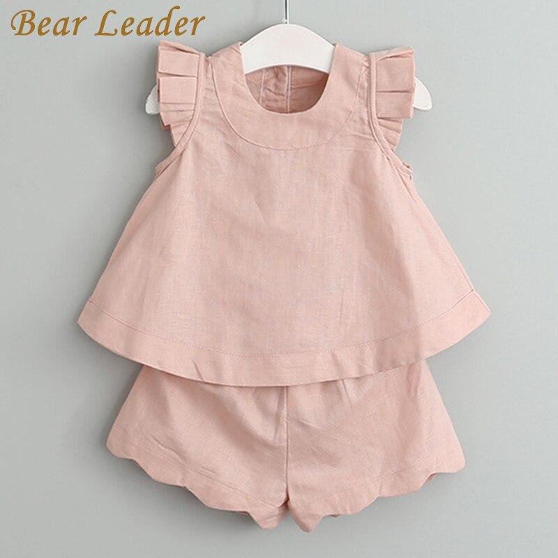 цена  Bear Leader Girls Clothing Sets 2017 Summer Fashion Sleeveless Solid O-Neck T-shirts+Pants 2Pcs for Girls Suits Kids Clothes  онлайн в 2017 году