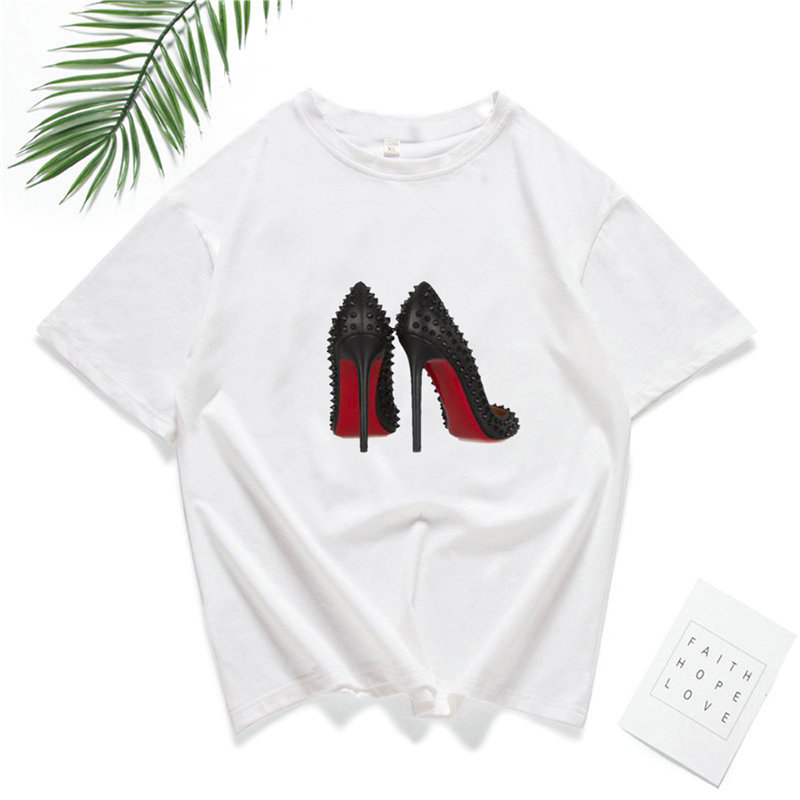Wholesale Summer Round Neck Short Sleeve Breathable t-shirt High Heels Print For Men Women Loose Hip Hop Pullover T shirts
