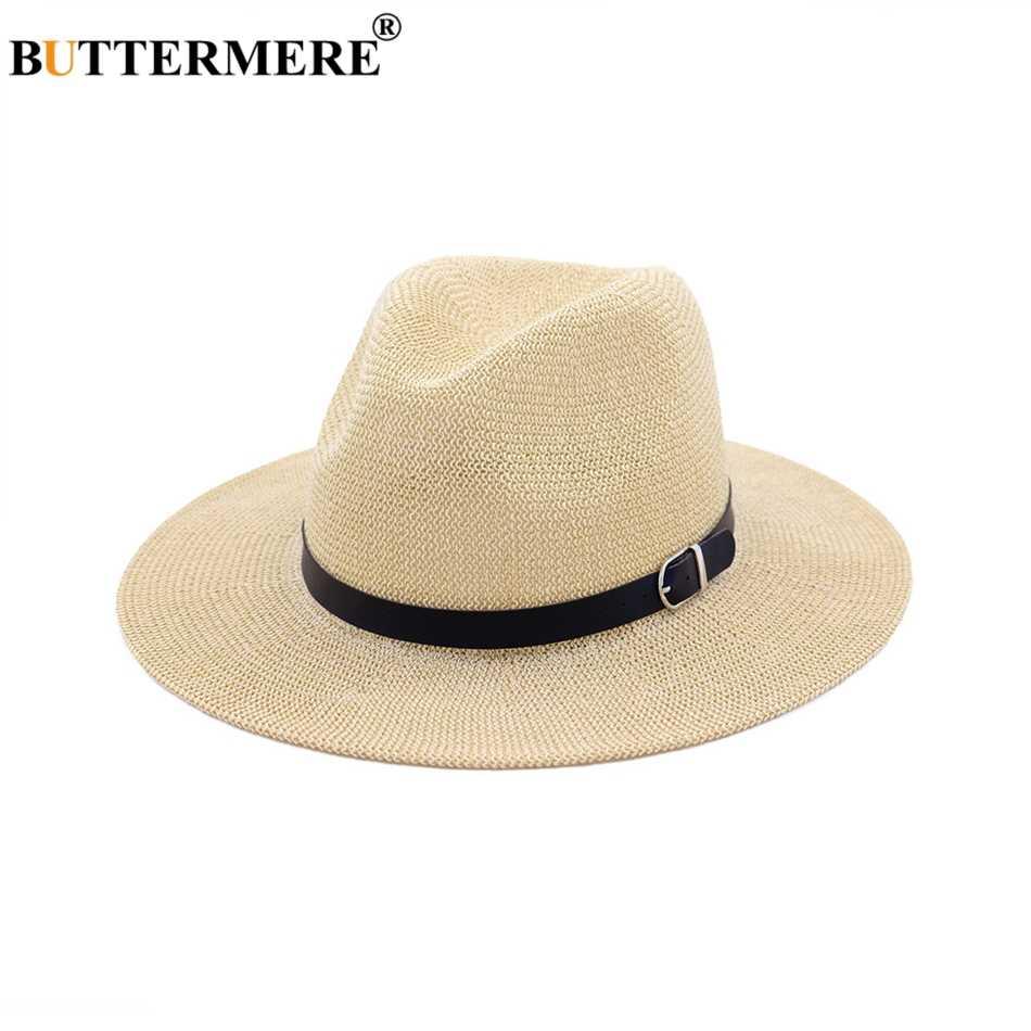 ... BUTTERMERE Beach Straw Hat Brown Women Mens Wide Brim Elegant Panama Hat  Fedora Female Casual Fashionable ... d775e902e58a