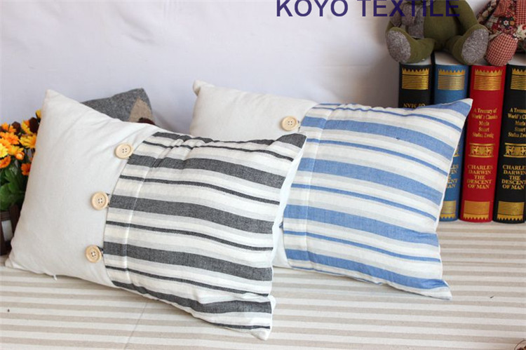 Stripe Printed Patchwork Mediterranean Linen Button Nautical New Decorative Pillows With Buttons