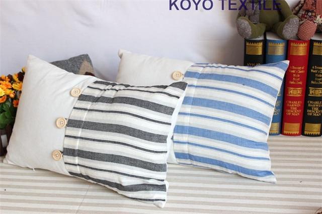 Stripe stampato patchwork lino pulsante nautico mediterraneo