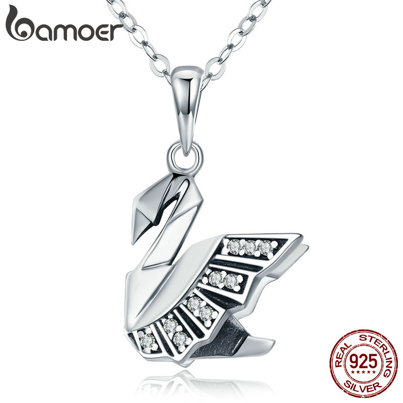 BAMOER New Collection 100% 925 Sterling Silver Paper Swan Shape Pendant Necklaces for Women Sterling Silver Jewelry Gift SCN219 цена