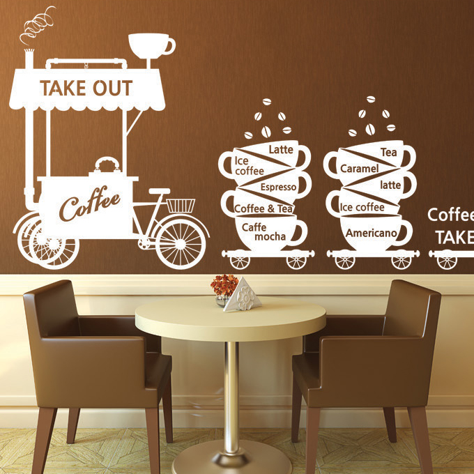 new arrival coffee shop wall stickers coffee the temptation of the