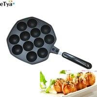 12 Holes Aluminum Alloy Takoyaki Pan Takoyaki Maker Small Octopus Balls Mold Baking Pan Home Cooking Tools Kitchenware Supplies