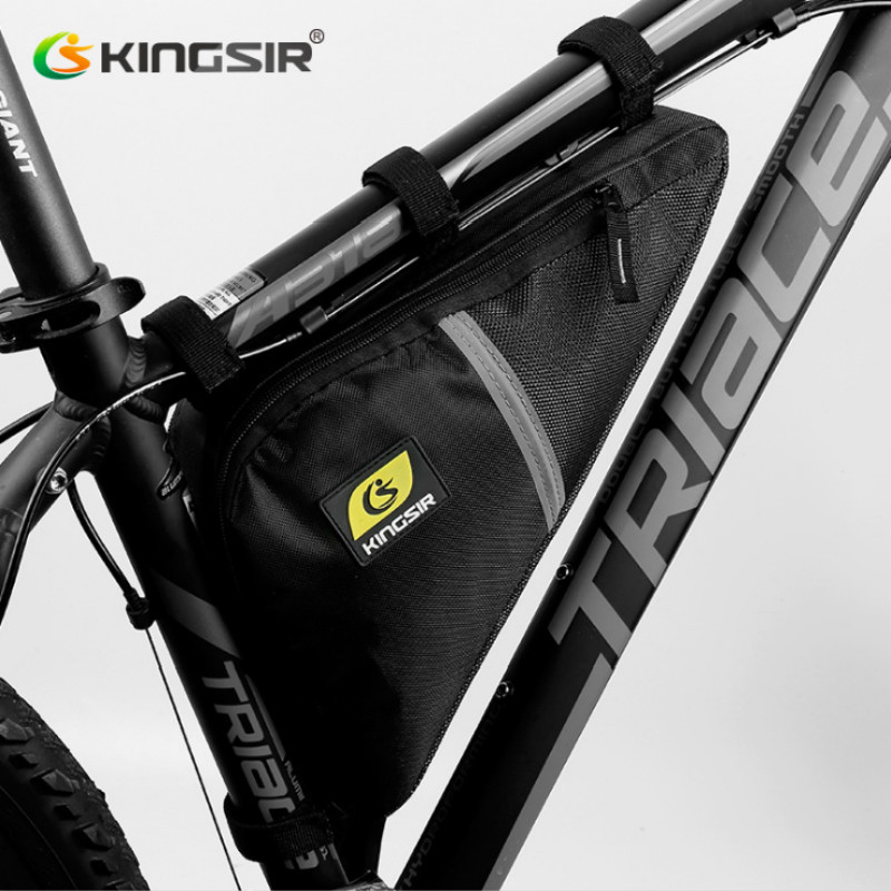 Kingsir Brand Vandtæt Cykling Front Triangle Bag Mountain Road Cykel Cykel Front Tube Frame Bag Telefon Pouch Case Tool Bag