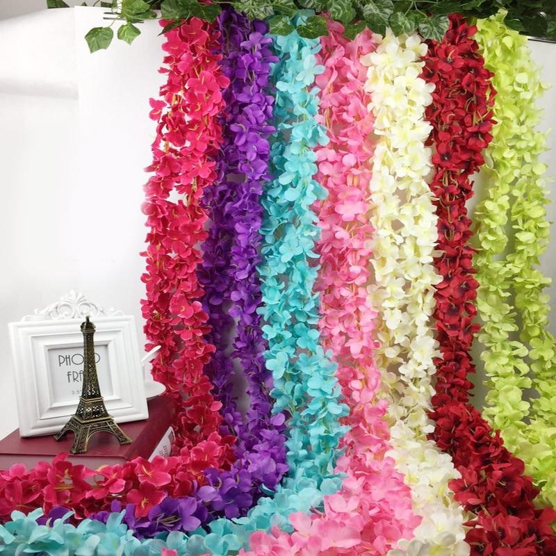 artificial garland silk vine flower plant garlands ivy home wedding garden hanging plant. Black Bedroom Furniture Sets. Home Design Ideas