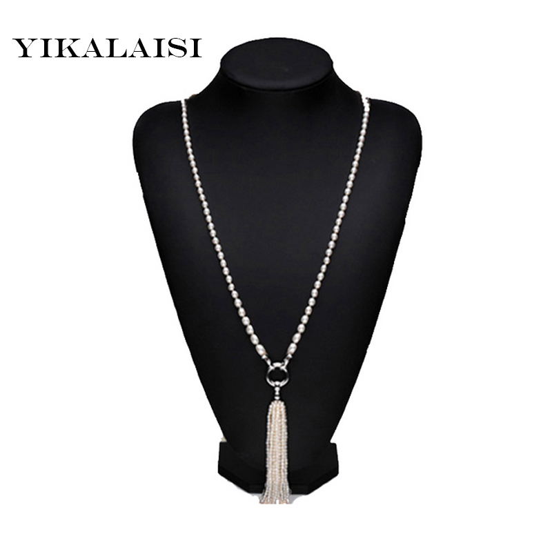 цена на YIKALAISI 2017 NEW Fashion Long Pearl Necklace Pearl Tassels Necklace with 925 sterling silver Jewelry For Women best gift