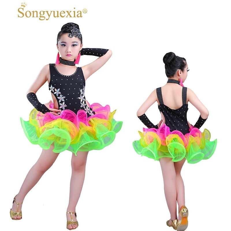 Songyuexia Salsa Latin Dress For Girls Latin Dance Costume Vestido Sexy Latin Dance Dresses For Sale Competition Dance Costumes