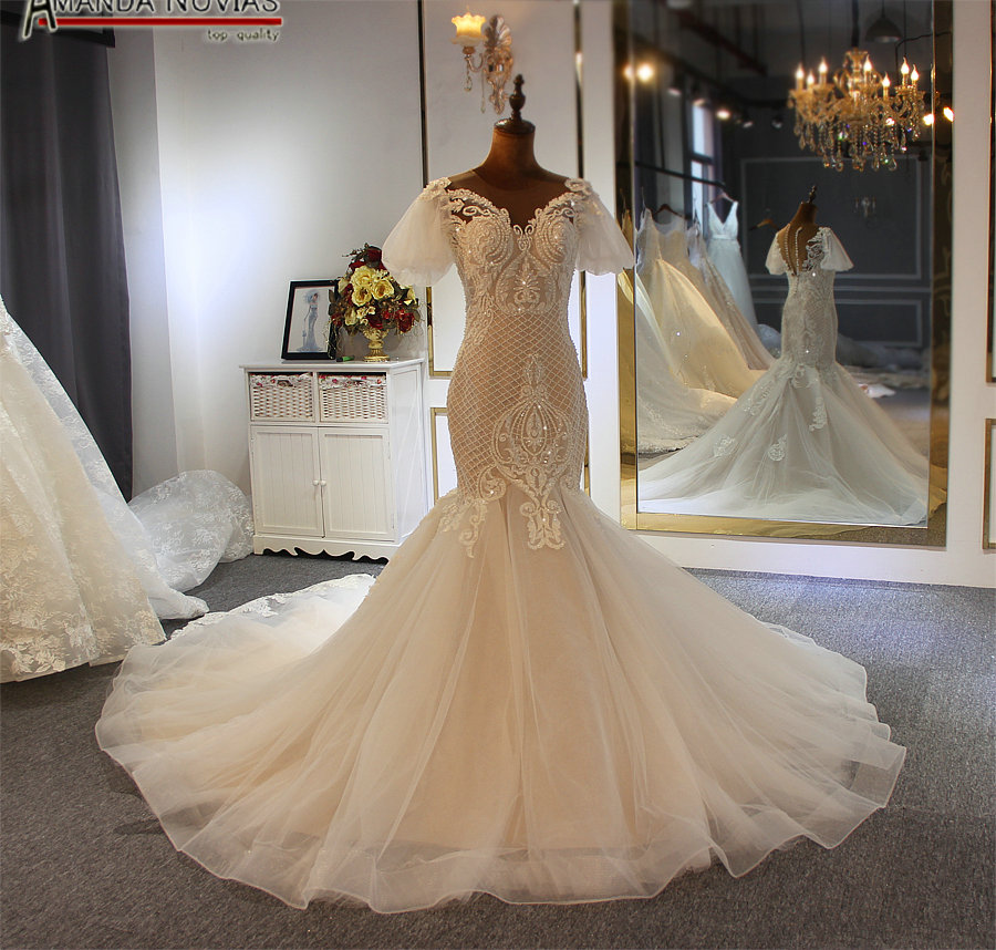 robe de soiree courte puff sleeve mermaid wedding dress full beading customer order color