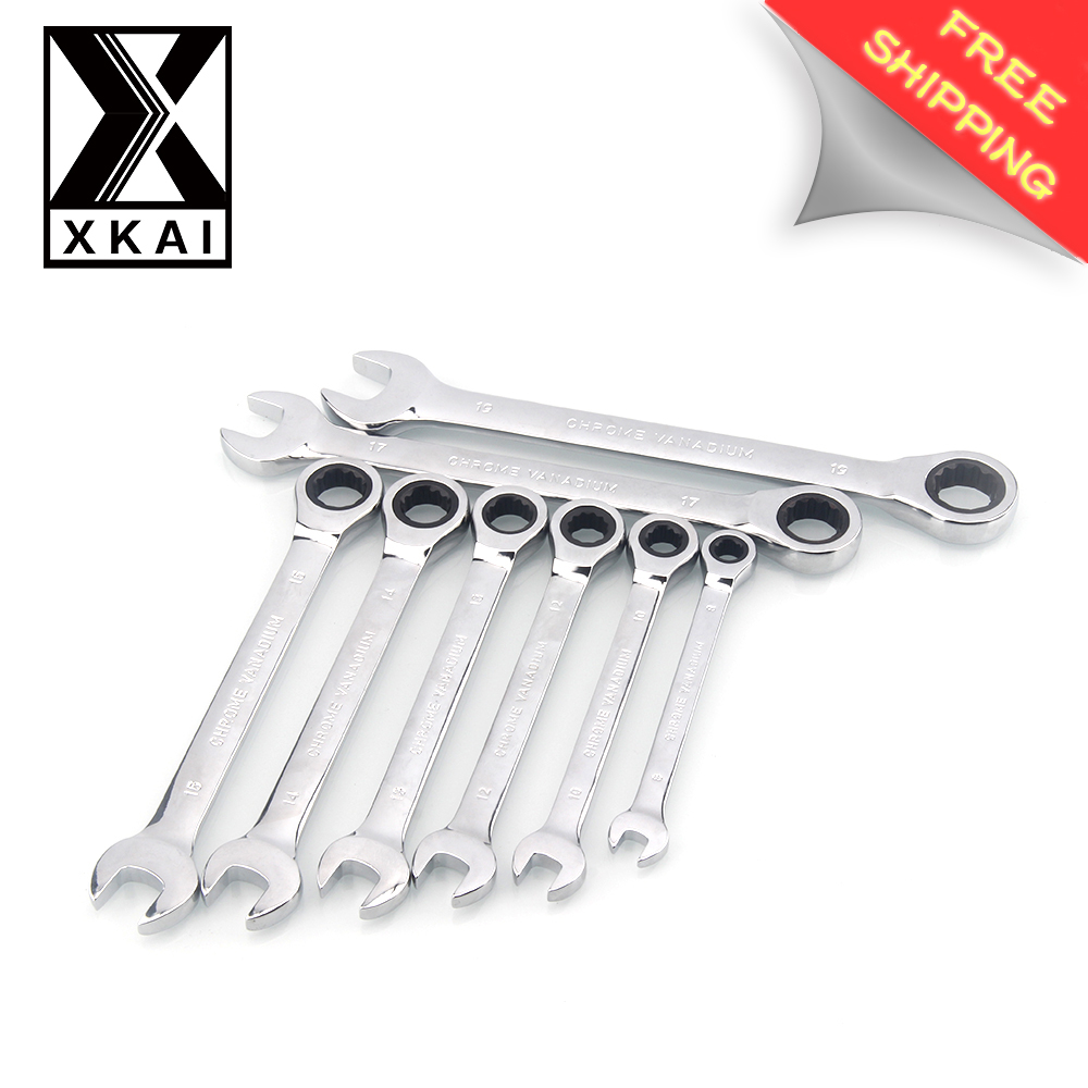 XKAI 8.10.12.13.14.15.17.19mm  Ratchet Spanner Combination wrench a set of keys gear ring wrench ratchet handle Chrome Vanadium xkai 14pcs 6 19mm ratchet spanner combination wrench a set of keys ratchet skate tool ratchet handle chrome vanadium