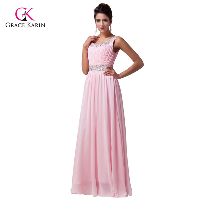 Grace karin hermosa barato larga de la gasa de novia de color rosa ...