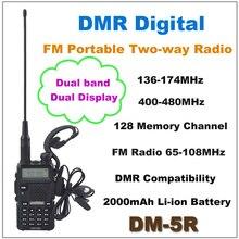 BAOFENG DM-5R Dual Band DMR Dijital FM Walkie talkie Taşınabilir İki yönlü radyo Alıcı-verici ile 2000 mAh Li-Ion pil