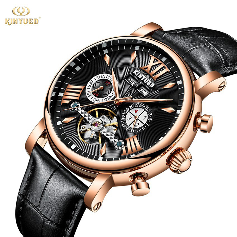 лучшая цена KINYUED 2018 Skeleton Mechanical Watch Men Automatic Classic Business Wrist Watch Leather Mechanical Relogio Masculino Reloj