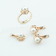 Women Simulated Pearl Round Flowers Earrings 585 Rose Gold Color Rings+Pendant+Earrings Jewelry Sets(China)