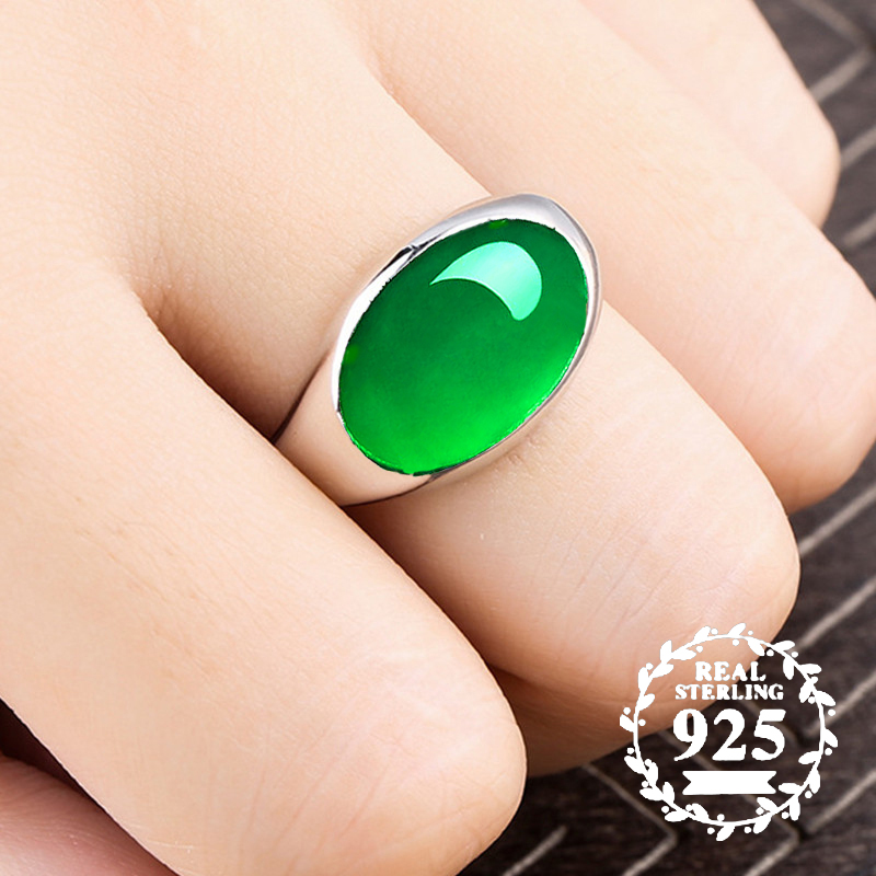 10*14mm NOT FAKE S925 Sterling Silver Australia Emerald Rings Jade moldevite upper class lithuania Retro Chalcedony10*14mm NOT FAKE S925 Sterling Silver Australia Emerald Rings Jade moldevite upper class lithuania Retro Chalcedony