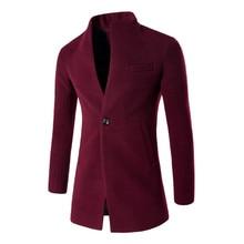 Winter Mens Slim Long Sleeve Single Button Suit Wool Jacket , burgundy Men's Lei