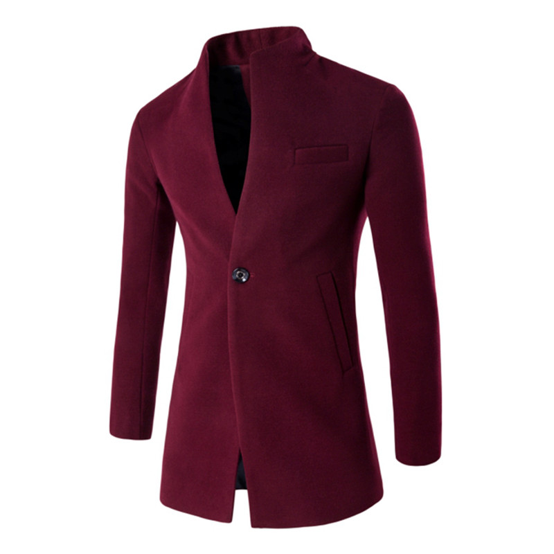 Winter Mens Slim Long Sleeve Single Button Suit Wool Jacket , burgundy Men's Leisure Cardigan Woolen Coats , Brands Jacket Male